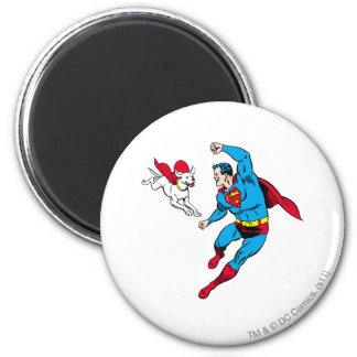 Superman en Krypto 2 Ronde Magneet 5,7 Cm