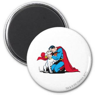 Superman en Krypto Ronde Magneet 5,7 Cm