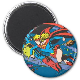Superman & het Vliegen Supergirl Ronde Magneet 5,7 Cm