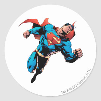 Superman in kostuum ronde sticker