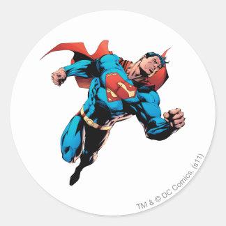 Superman in kostuum ronde stickers