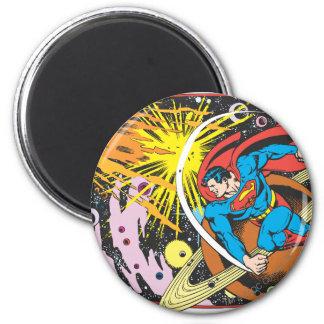 Superman in Ruimte Ronde Magneet 5,7 Cm