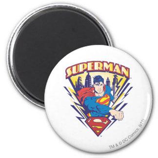 Superman met Elektriciteit Ronde Magneet 5,7 Cm