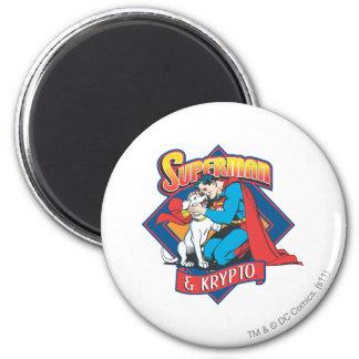 Superman met Krypto Ronde Magneet 5,7 Cm