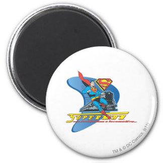 Superman met trein - Kleur Koelkast Magneetje