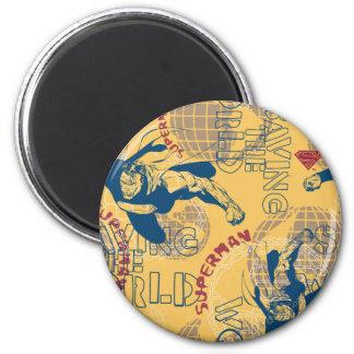 Superman met wereldbollen ronde magneet 5,7 cm