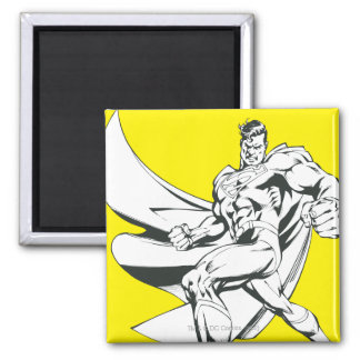 Superman Zwart-witte 2 Vierkante Magneet