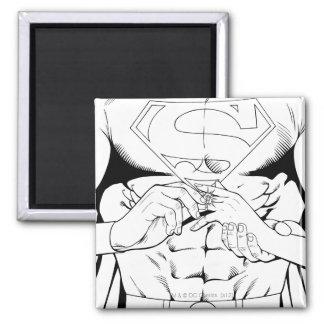 Superman Zwart-witte 3 Vierkante Magneet