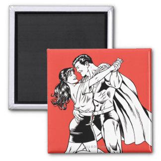 Superman Zwart-witte 4 Vierkante Magneet
