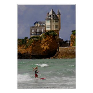 Surfen het achter elkaar in Biarritz, Frankrijk Poster