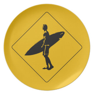 Surfer die Waarschuwingssein, San Diego kruisen Diner Borden