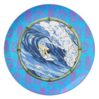 Surfer in de Cirkel van het Bamboe Diner Bord
