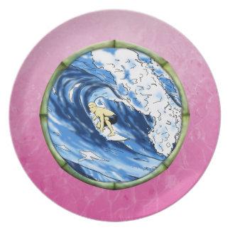 Surfer in de Cirkel van het Bamboe Party Bord