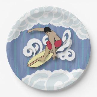 Surfer in het Vat Papieren Bordje