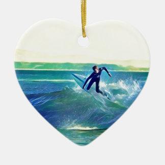 Surfer Keramisch Hart Ornament