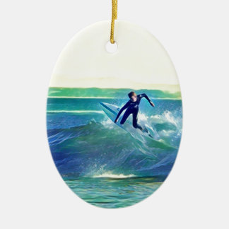 Surfer Keramisch Ovaal Ornament