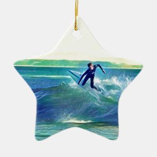 Surfer Keramisch Ster Ornament