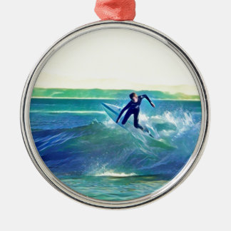 Surfer Zilverkleurig Rond Ornament
