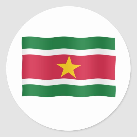 Surinaamse vlag ronde sticker