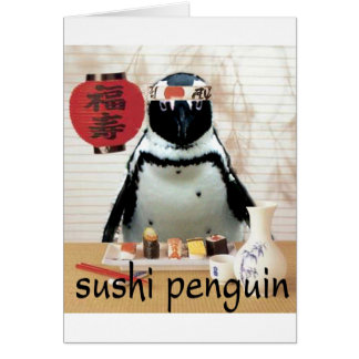 sushi pinguïn wenskaart