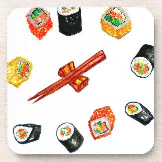 Sushi Vastgestelde Watercolor2 Bier Onderzetter