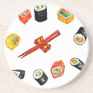 Sushi Vastgestelde Watercolor2 Zandsteen Onderzetter