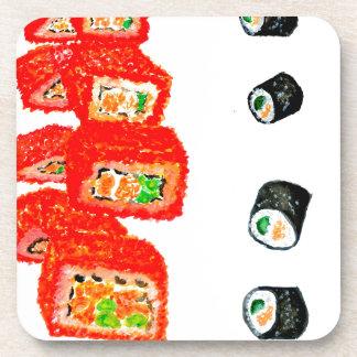 Sushi Vastgestelde Watercolor3 Drankjes Onderzetter