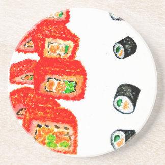 Sushi Vastgestelde Watercolor3 Zandsteen Onderzetter