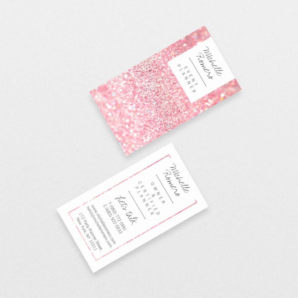 Modern girly faux pink glitter bokeh event planner
