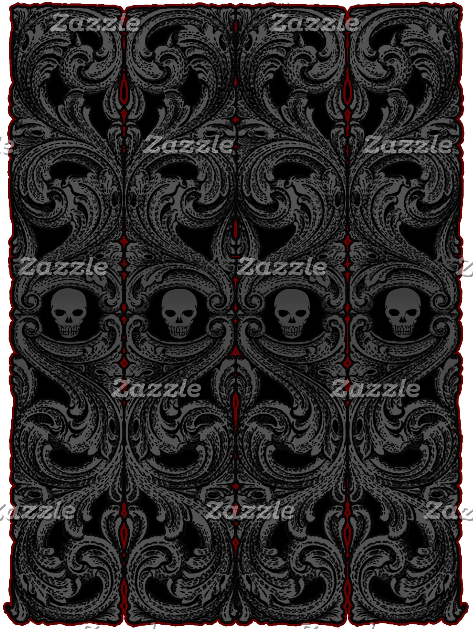 Goth Gray Ornament with Skull