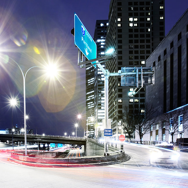 City scape at night with flare
