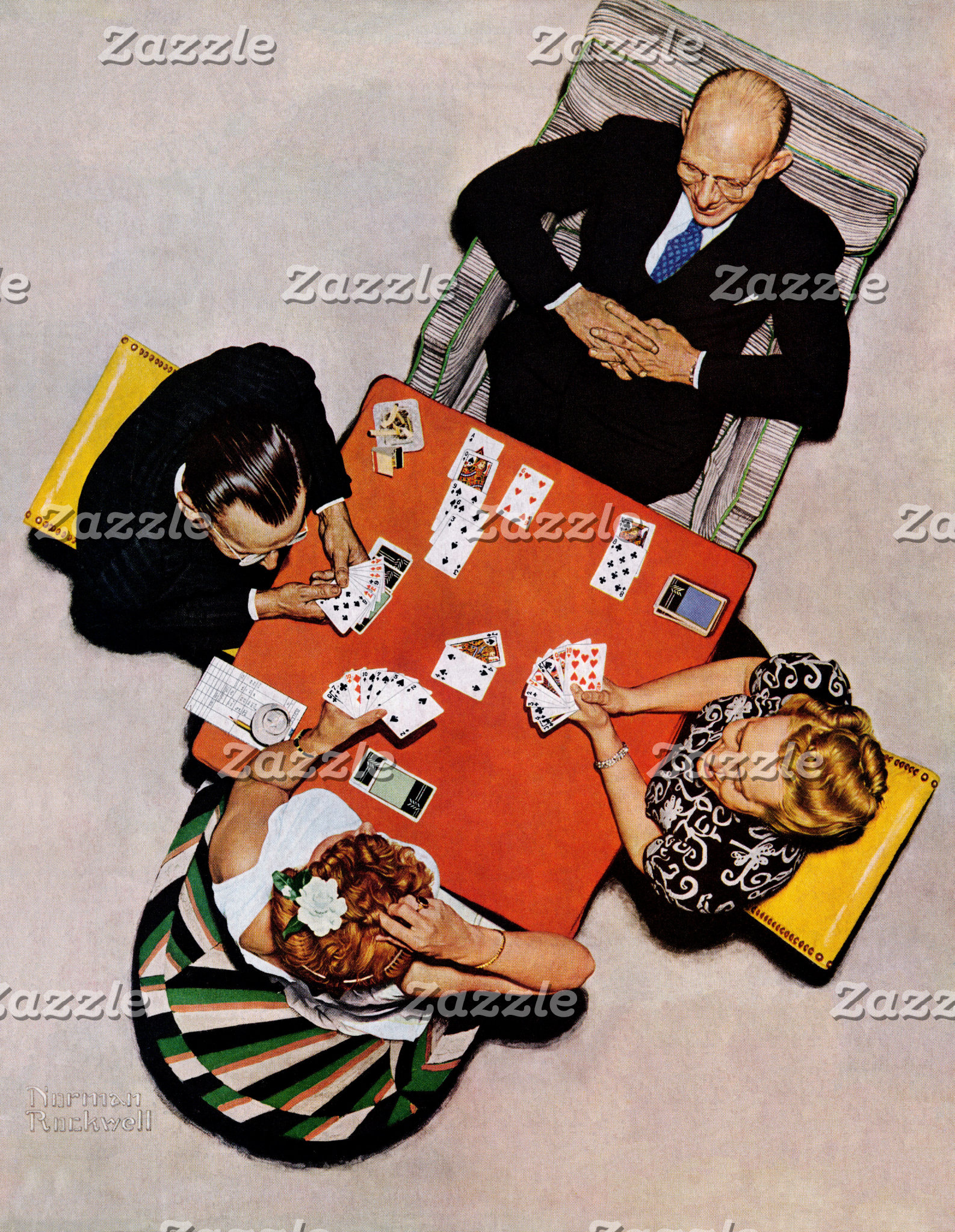 Bridge Game by Norman Rockwell