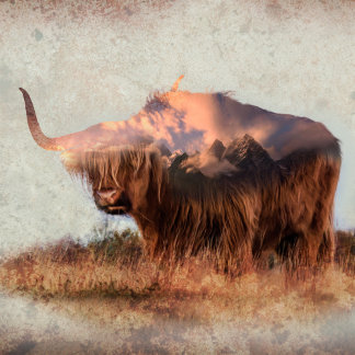 Wild yak - Yak nepal - double exposure art - ox