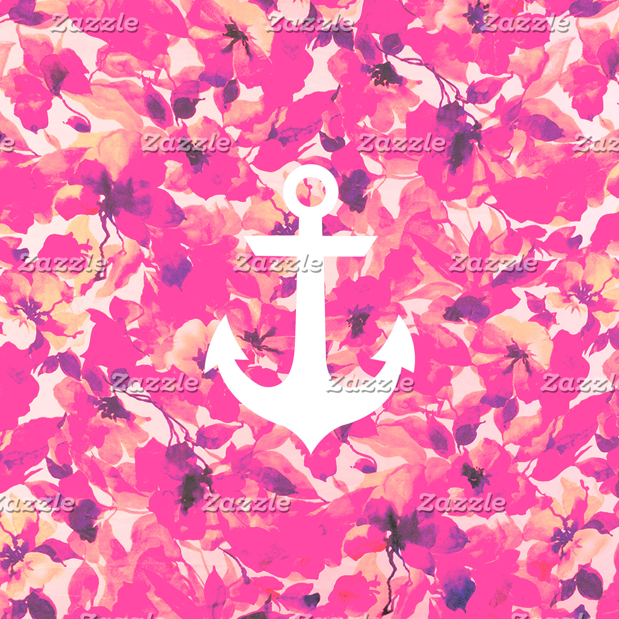 Retro Monogram Nautical Anchor Pink Floral Pattern