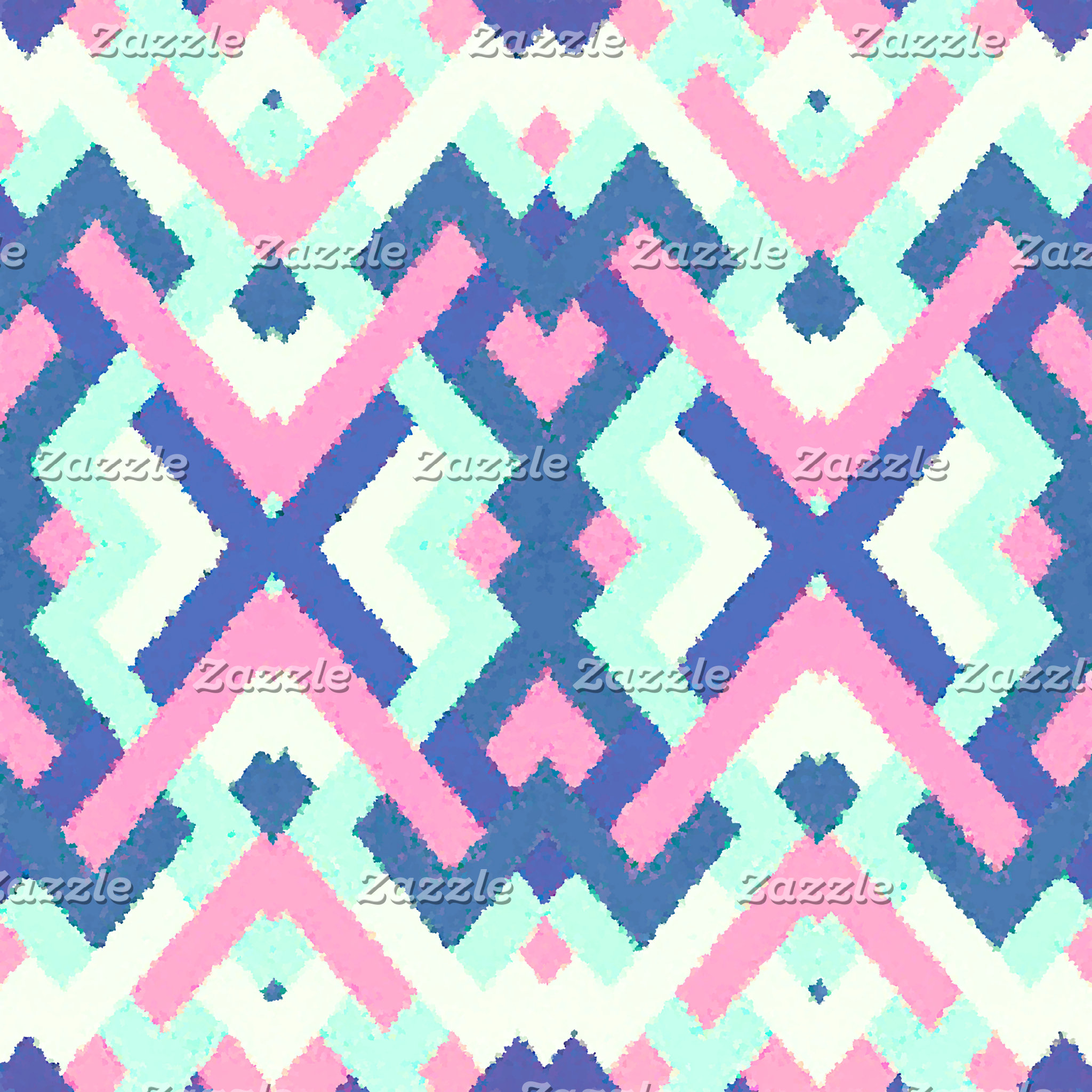 Abstract Pastel Teal Pink Ikat Geometric Pattern