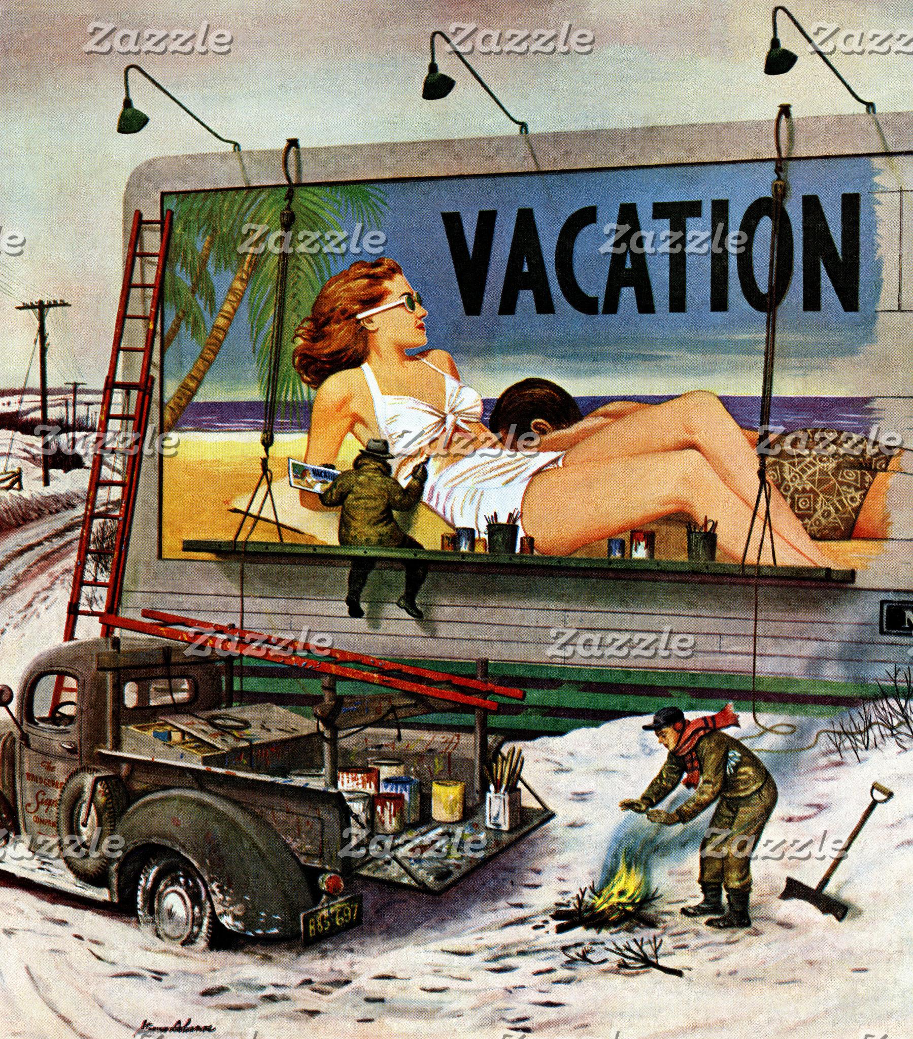 Billboard Painters in Winter by Stevan Dohanos