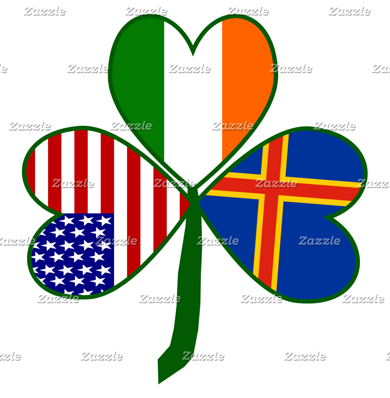 Aland Islands Shamrock Flag