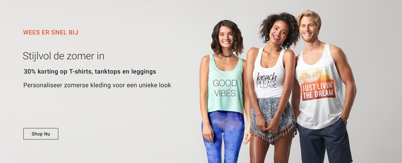 30% korting op T-shirts, tanktops en leggings