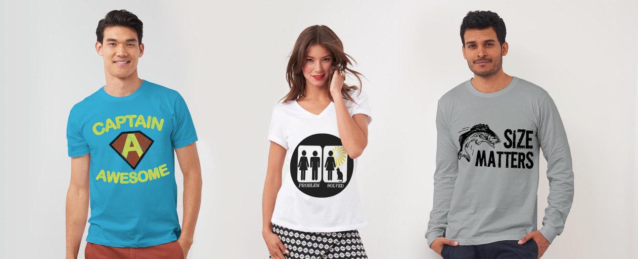 Grappige T-shirts in vele stijlen en kleuren