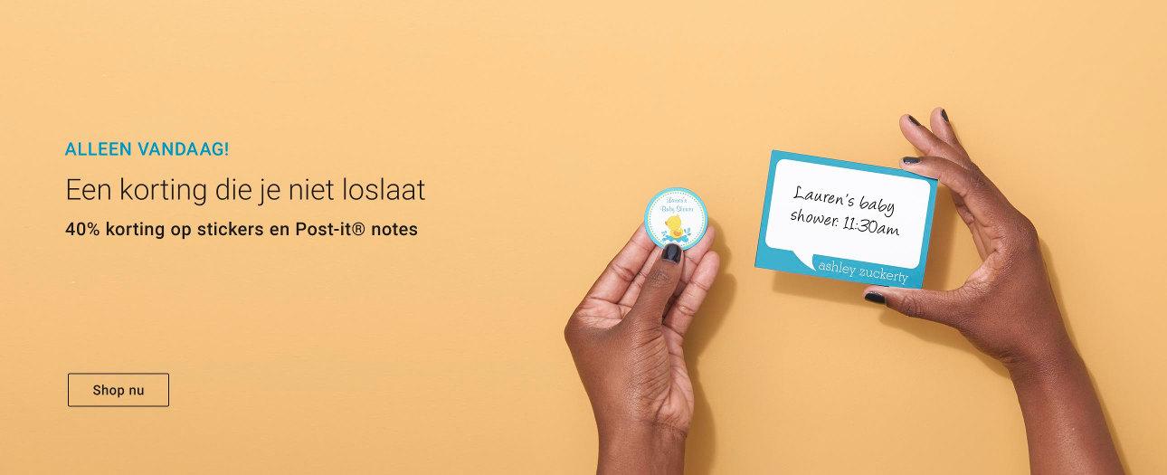 40% korting op stickers en Post-it®