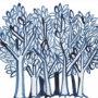 Blauwe en witte bomen en bladeren Abstracte Casual