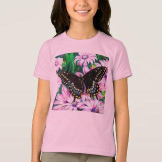 Swallowtail op Roze Bloemen T Shirt