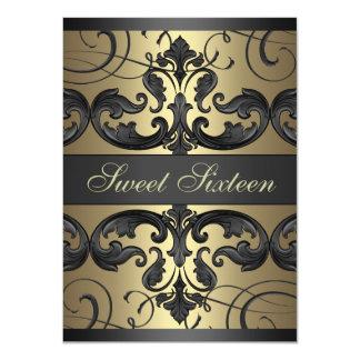 Sweet16 nodigt de Gouden/Zwarte Verjaardag van het 11,4x15,9 Uitnodiging Kaart
