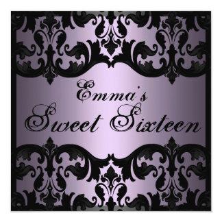 Sweet16 nodigt de Paarse Elegante Verjaardag van 13,3x13,3 Vierkante Uitnodiging Kaart