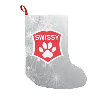 Swissy op de Kous van Kerstmis van de Sneeuw Kleine Kerstsok