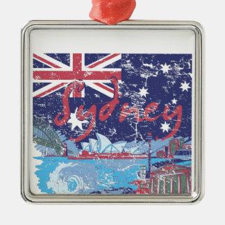 Sydney vintage Australië Zilverkleurig Vierkant Ornament