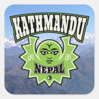 Symbolen van de Zon en van de Maan van Katmandu de Vierkante Sticker