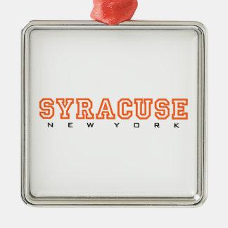 Syracuse, New York - Brieven Zilverkleurig Vierkant Ornament