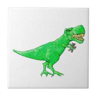 T-Rex met Teddybeer Tegeltje Vierkant Small
