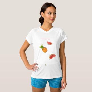 T-shirt kraag V gedrukt wit vruchten